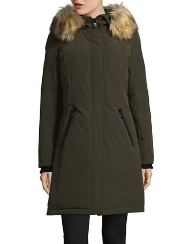 Vince Camuto Down Fill Parka with Faux Fur Hood-GREEN-Large