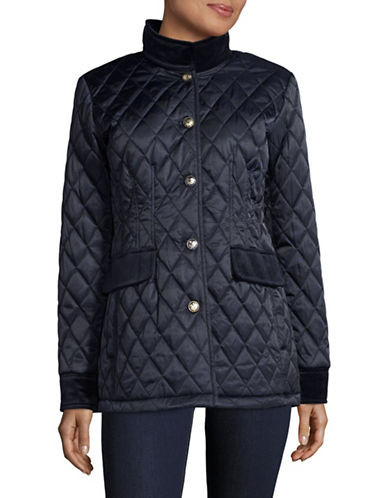 Vince Camuto Diamond-Quilt Jacket with Velvet Trim-BLUE-Medium