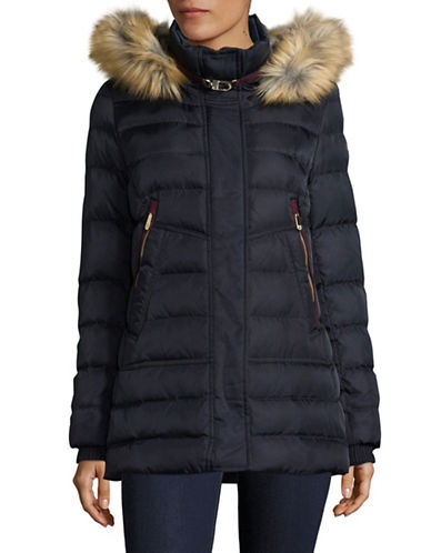 Vince Camuto Zip-Pocket Down Jacket with Faux Fur Hood-BLUE-Medium