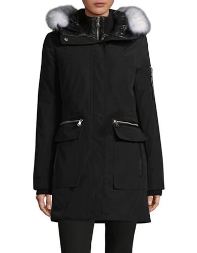 Vince Camuto Gilet Down Parka with Faux Fur-BLACK-X-Small