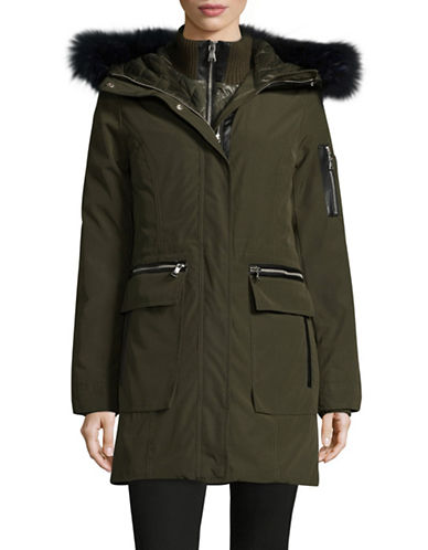 Vince Camuto Gilet Down Parka with Faux Fur-OLIVE-Medium