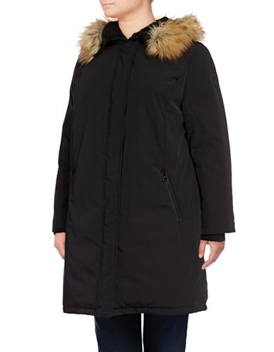 Vince Camuto Plus Down Parka with Faux Fur Hood-BLACK-2X