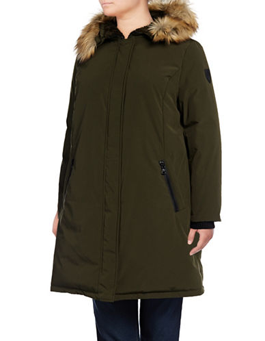 Vince Camuto Plus Down Parka with Faux Fur Hood-GREEN-2X