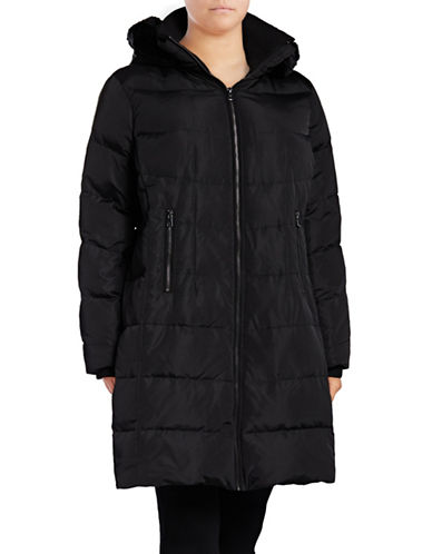 Vince Camuto Down Walker Coat with Faux Fur Trim-BLACK-1X
