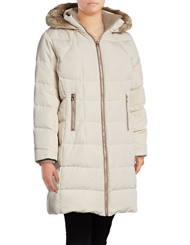 Vince Camuto Down Walker Coat with Faux Fur Trim-STONE-1X