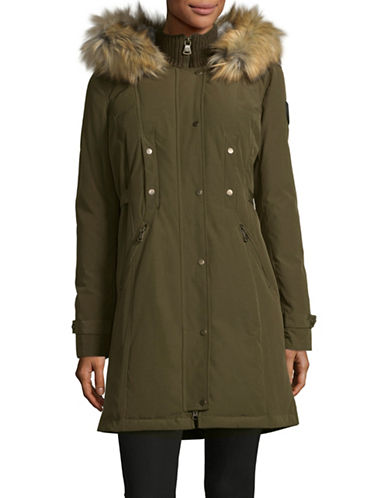 Vince Camuto Buckled-Tab Down Parka with Faux Fur Hood-GREEN-Small