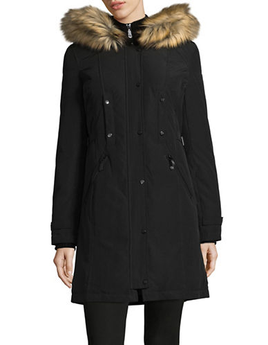 Vince Camuto Buckled-Tab Down Parka with Faux Fur Hood-BLACK-Large
