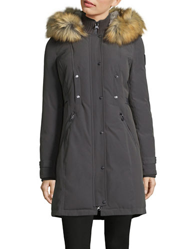 Vince Camuto Buckled-Tab Down Parka with Faux Fur Hood-GREY-X-Large