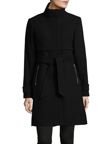 Vince Camuto Stand Collar Wool-Blend Walker Coat-BLACK-Small