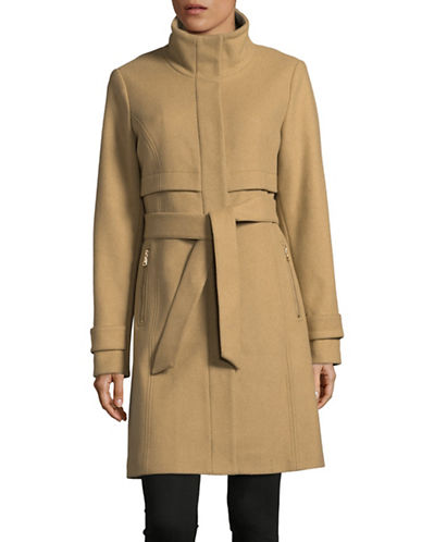 Vince Camuto Stand Collar Wool-Blend Walker Coat-BEIGE-Medium