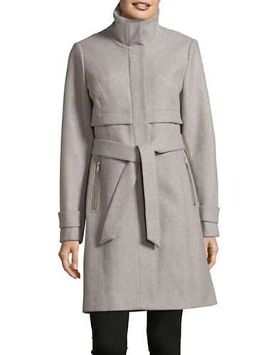 Vince Camuto Stand Collar Wool-Blend Walker Coat-GREY-Large
