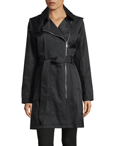 Vince Camuto Belted Aysemetrical Trench Coat-BLACK-Small 89819028_BLACK_Small