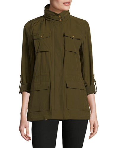 Vince Camuto Full-Zip Mock Neck Anorak-GREEN-X-Small 89819044_GREEN_X-Small