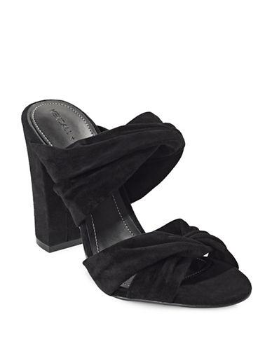Kendall + Kylie Suede Block Heel Mules-BLACK-7.5