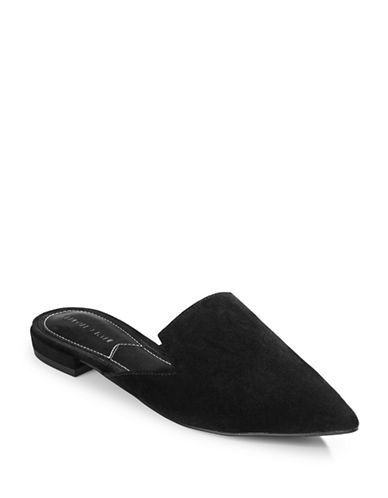 Kendall + Kylie Leather Pointy Slip-On Mules-BLACK-6