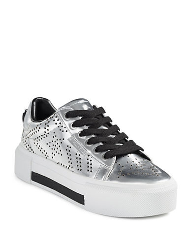 Kendall + Kylie Perforated Platform Sneakers-SILVER-8