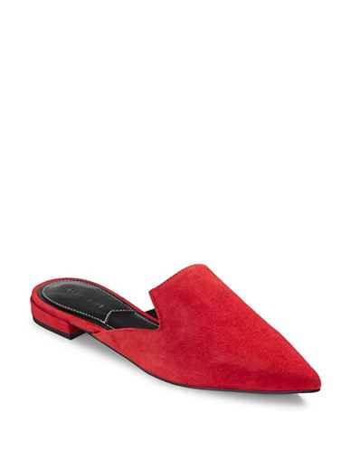 Kendall + Kylie Leather Pointy Slip-On Mules-RED-6.5