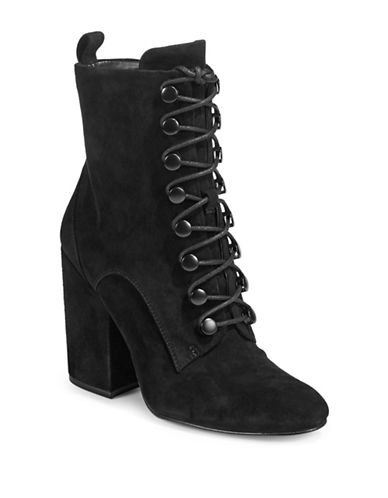 Kendall + Kylie Bridget Lace-Up Suede Booties-BLACK-6.5