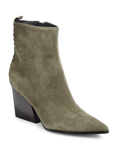 Kendall + Kylie Felix Leather Booties-OLIVE-9.5