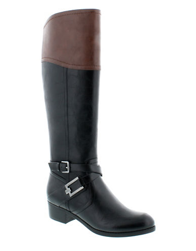 Unisa Trinee Knee-High Boots-BLACK/TAN-6
