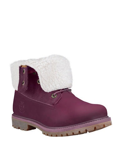 Timberland Timberland Teddy Fleece Leather Boots-BURGUNDY-8