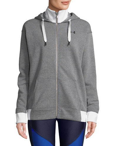 Under Armour Threadborne Full-Zip Hoodie-GREY-Small