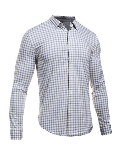 Under Armour Plaid Casual Button-Down Shirt-WHITE-Large