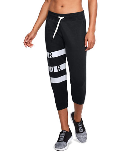 Under Armour Favourite Graphic Fleece Capri Pants-BLACK-X-Small 89844833_BLACK_X-Small