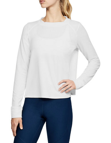 Under Armour Plush Terry Crew Top-WHITE-X-Small