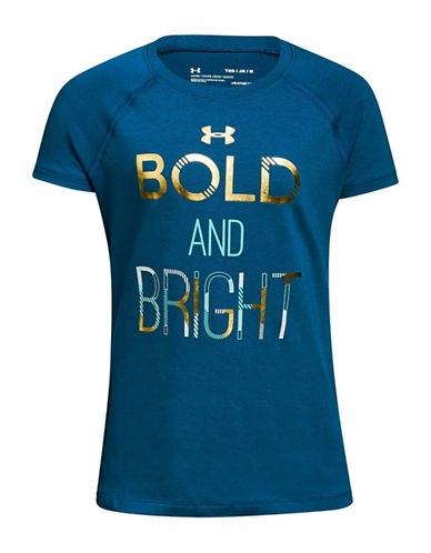 Under Armour Bold and Bright Short-Sleeve Cotton Tee-BLUE-18-20