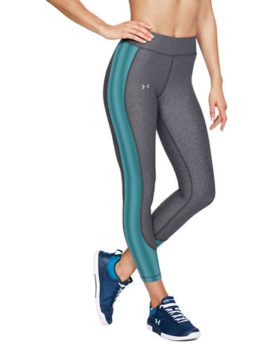 Under Armour HeatGear Ankle Crop Leggings-GREY/GREEN-Medium 89983066_GREY/GREEN_Medium