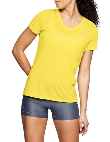 Under Armour Threadborne Train Twist V-Neck Top-YELLOW-X-Large 89983020_YELLOW_X-Large