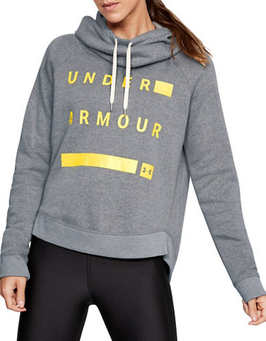 Under Armour Favourite Fleece Pullover Graphic Hoodie-GREY-Large