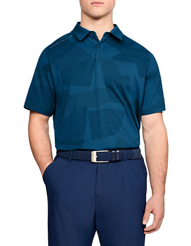 Under Armour Threadborne Short Sleeve Printed Polo-BLUE-Medium 90033977_BLUE_Medium