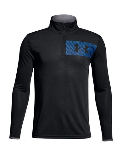 Under Armour BB Thread Quarter-Zip Pullover-BLACK-Large