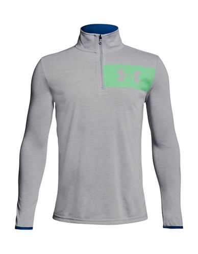 Under Armour BB Thread Quarter-Zip Pullover-OVERCAST GRAY-Medium