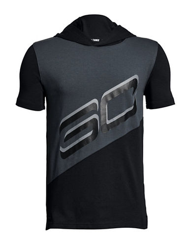 Under Armour Short Sleeved Graphic Hoodie-BLACK-Small 89939196_BLACK_Small