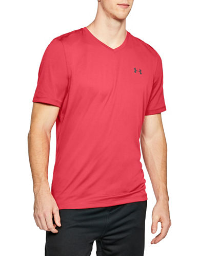 Under Armour Tech V-Neck Short-Sleeve Tee-RED-X-Large