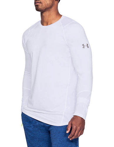 Under Armour Long-Sleeve Crewneck T-Shirt-WHITE-Small