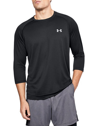 Under Armour Tech Three-Quarter Sleeve T-Shirt-BLACK-Large 89819571_BLACK_Large