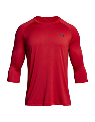 Under Armour Tech Three-Quarter Sleeve T-Shirt-RED-X-Large