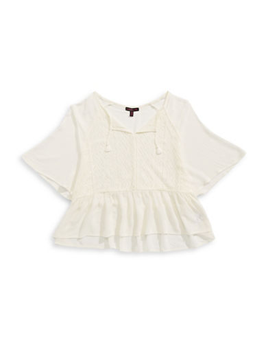 Material Girl Flutter Crochet Peasant Blouse-CLOUD-X-Small