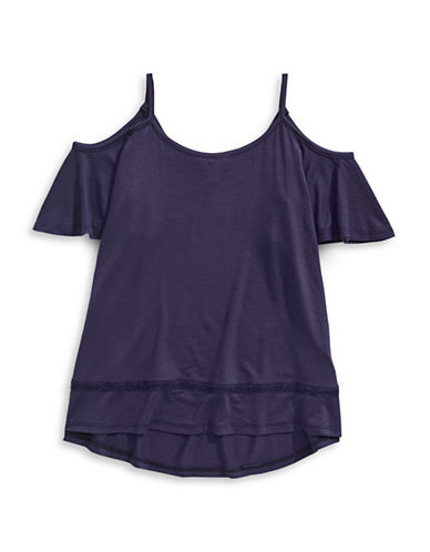 Material Girl Draped Cold-Shoulder Tee-PURPLE-Small