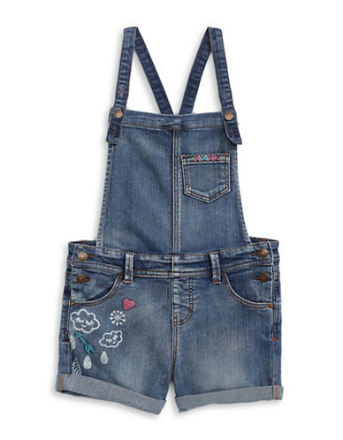 Material Girl Embroidered Screen Print Overalls-BLUE-X-Small