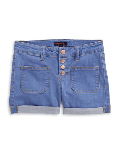 Material Girl Patch Pocket Denim Shorts-BLUE-Small