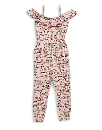 Material Girl Southwestern Cold-Shoulder Jumpsuit-PINK-X-Small