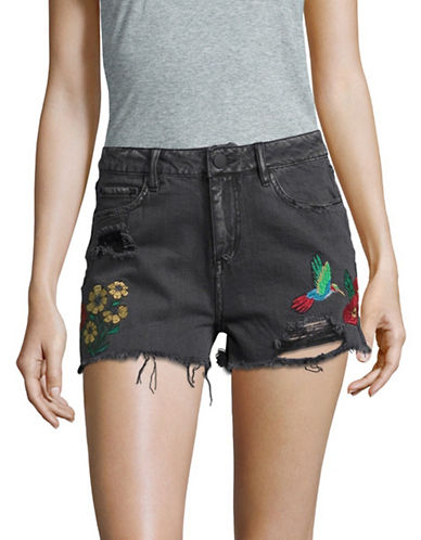 Design Lab Lord & Taylor Embroidered Denim Shorts-BLACK-28