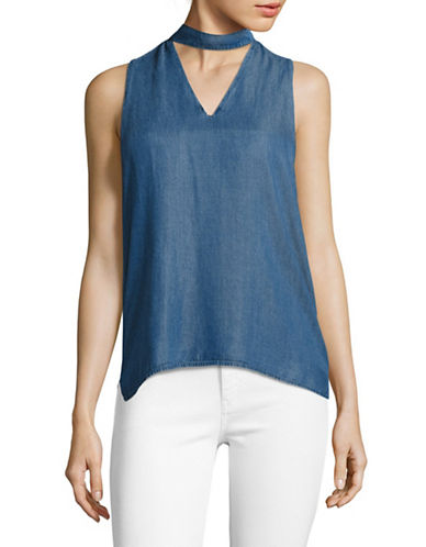 Design Lab Lord & Taylor Lyocell Chambray Choker Tank-BLUE-X-Small 89123491_BLUE_X-Small