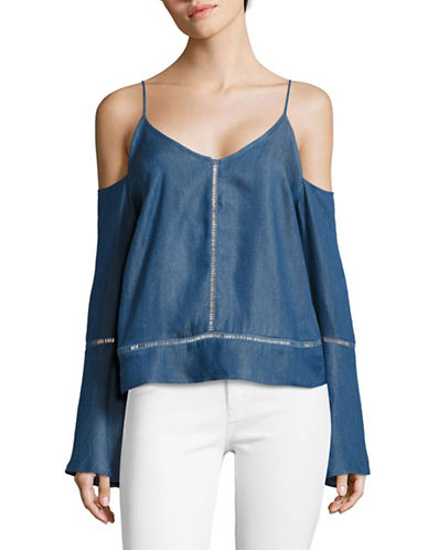 Design Lab Lord & Taylor Cold-Shoulder Tencel Denim Top-BLUE-X-Small 89123487_BLUE_X-Small