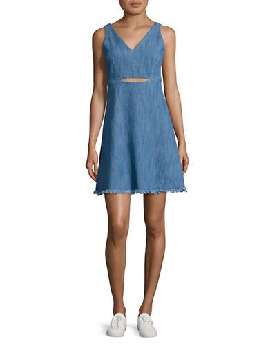 Design Lab Lord & Taylor Cut-Out Denim Shift Dress-BLUE-X-Small